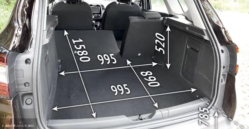 размеры багажника в рено каптур