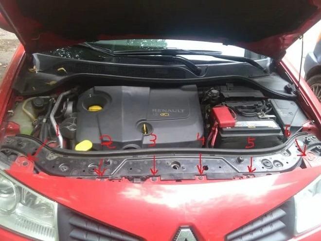 рено меган снятие переднего бампера